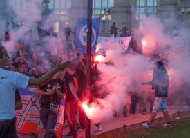 Manifestation des Ultras Montpellier Place de l'Europe